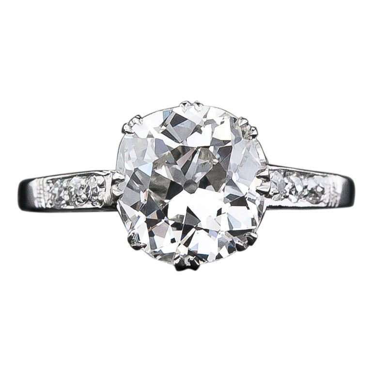 2 64 Carat Antique Cushion Cut Diamond Engagement Ring at 1stdibs