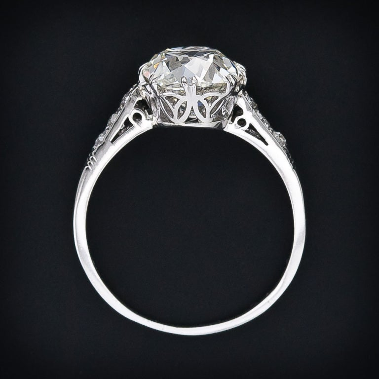 2 64 carat antique cushion cut engagement ring at