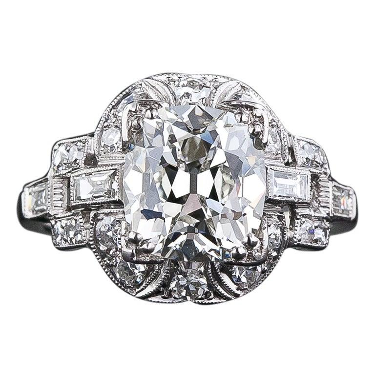 3 03 Carat Cushion Cut Art Deco Diamond Engagement Ring at 1stdibs