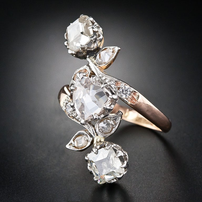 Antique Three Stone Diamond Ring With 1 91 Carat Fancy