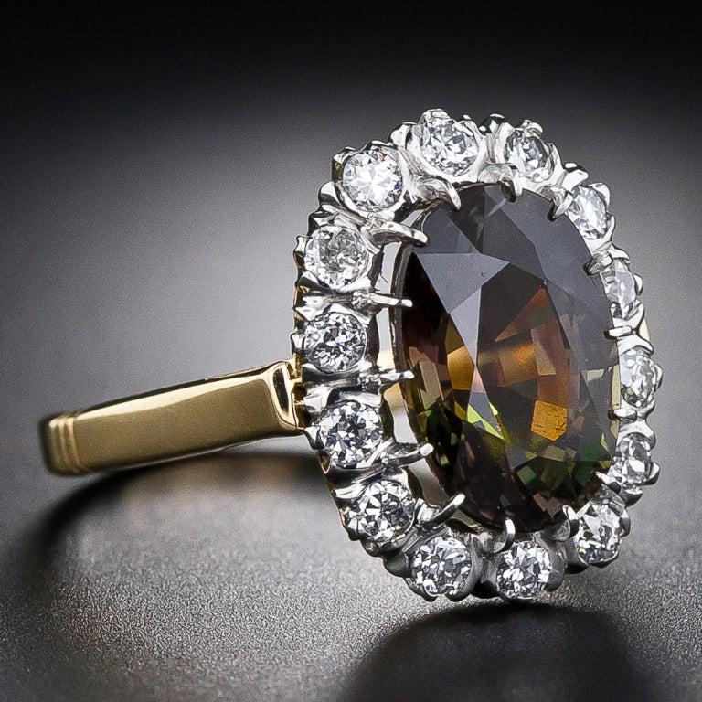 4.19 Carat Alexandrite and Diamond Ring 2
