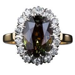 4.19 Carat Alexandrite and Diamond Ring