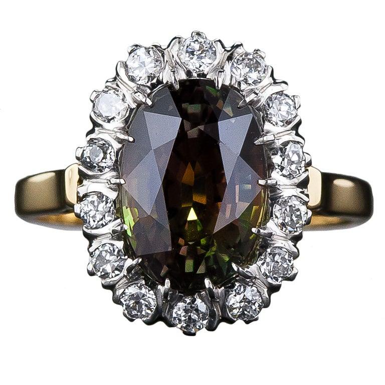 4.19 Carat Alexandrite and Diamond Ring 1