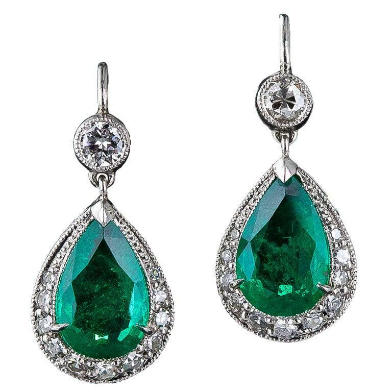 Emerald And Diamond Drop Earrings At 1stdibs