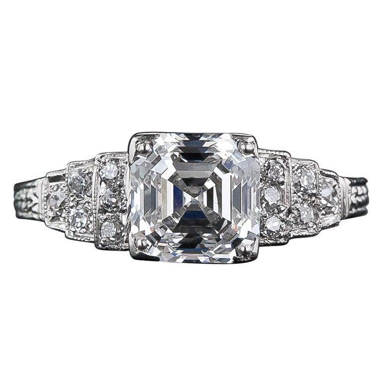 2 03 Carat 'F VS1' Asscher Cut Diamond Engagement Ring at 1stdibs