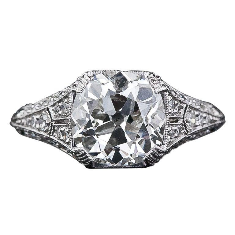 3 01 Carat Antique Cushion Cut Diamond Ring at 1stdibs
