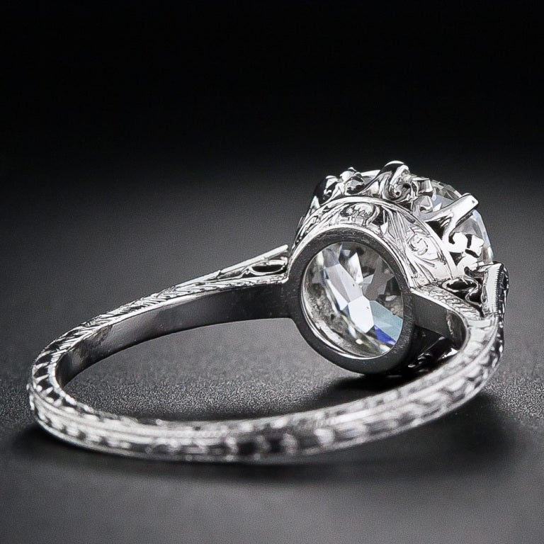 2 90 carat antique cushion cut engagement ring at