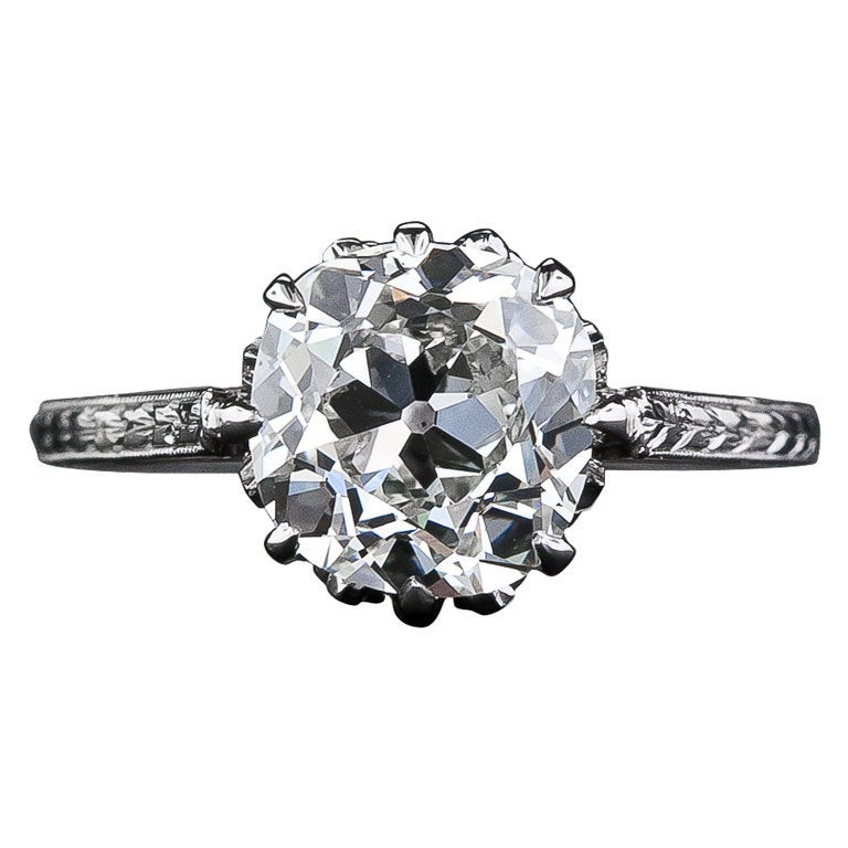 2 90 Carat Antique Cushion Cut Diamond Engagement Ring at 1stdibs