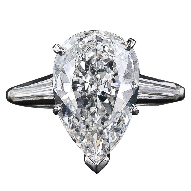 3 57 Carat G SI1 Pear Shape Diamond Solitaire at 1stdibs