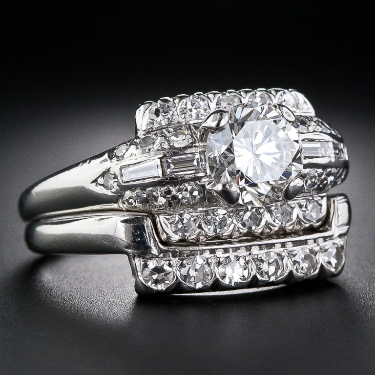 Art Deco Diamond Platinum Wedding Set 1 20 Carat G Vs1