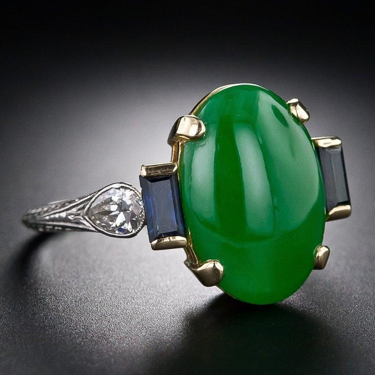 Art Deco Natural Jade, Diamond and Sapphire Ring image 2