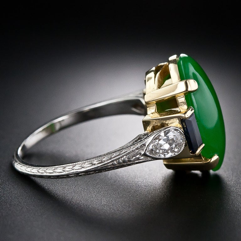 Art Deco Natural Jade, Diamond and Sapphire Ring image 3