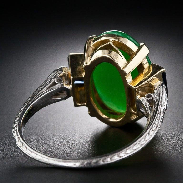 Art Deco Natural Jade, Diamond and Sapphire Ring image 4