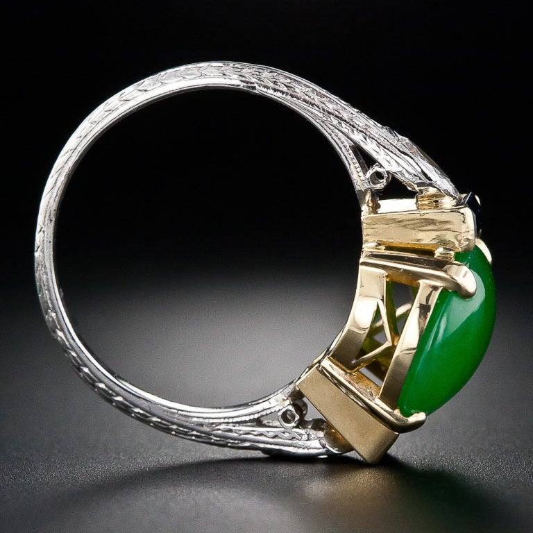 Art Deco Natural Jade, Diamond and Sapphire Ring image 5