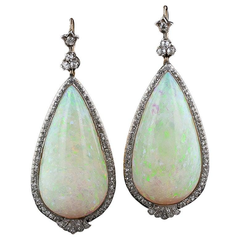 Antique 90 00 Carats Opal Diamond Gold Platinum Dangle