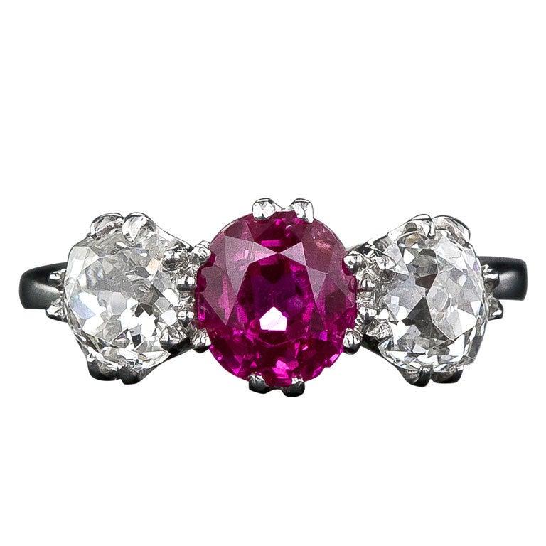 Natural Unheated Burmese Ruby And Diamond Three Stone Ring. Birthstone Rings. Farmer Wedding Rings. Mix Wedding Rings. Icy Blue Engagement Rings