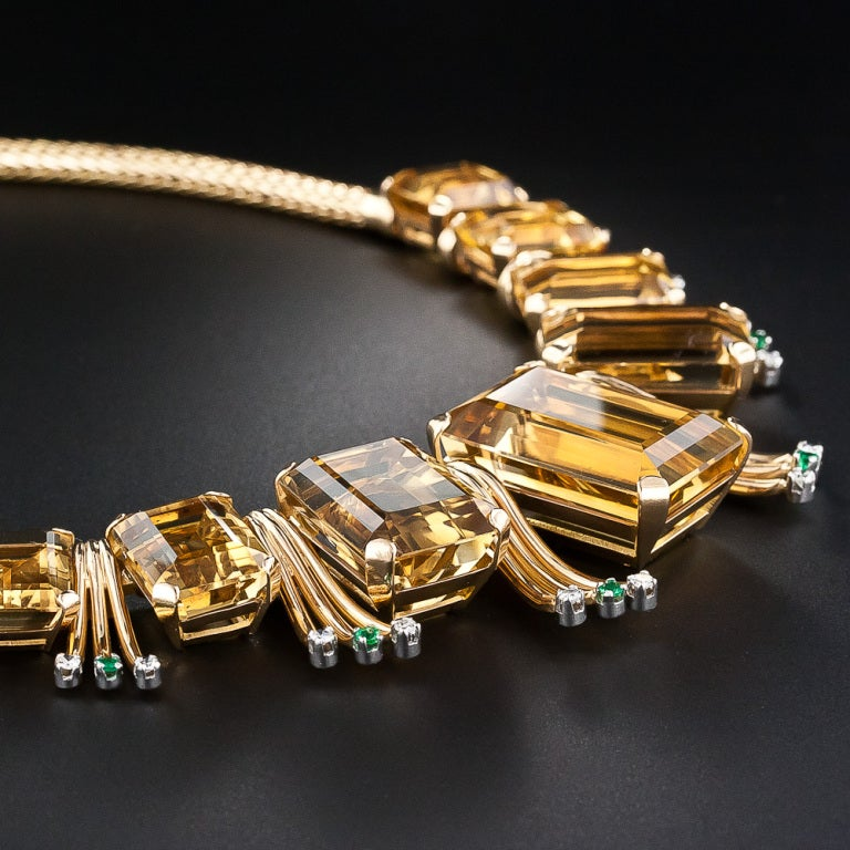 Retro Citrine, Emerald and Diamond Necklace 3