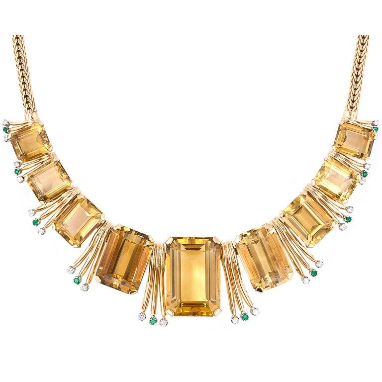 Retro Citrine, Emerald and Diamond Necklace 1