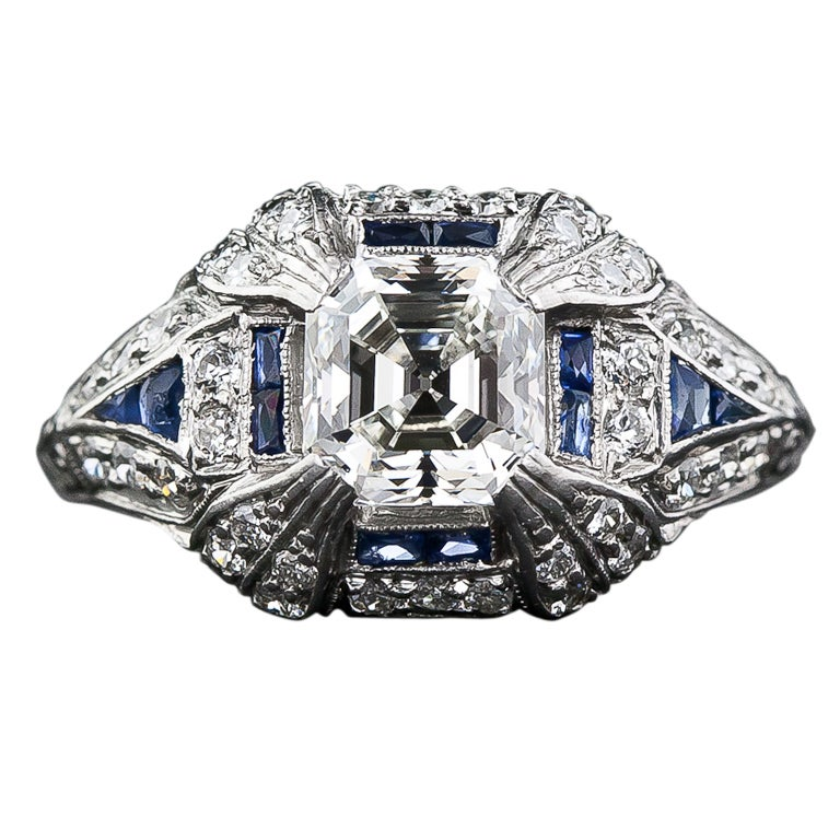 1 40 carat asscher cut deco engagement ring at 1stdibs