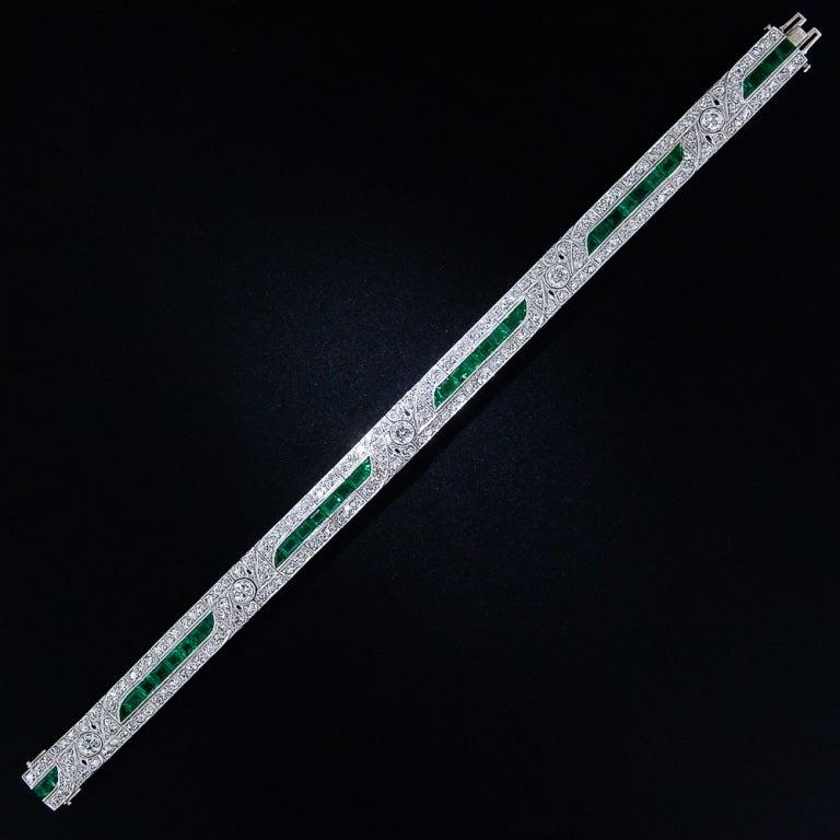 Women's or Men's Emerald and Diamond Art Deco Bracelet For Sale