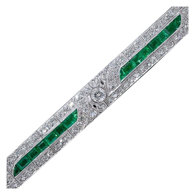 Emerald and Diamond Art Deco Bracelet For Sale