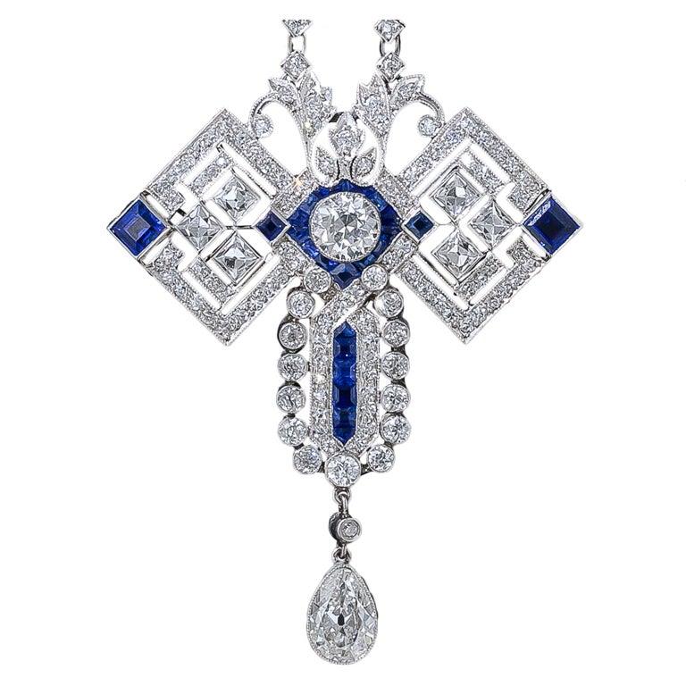 Art Deco Diamond And Sapphire Pendant Necklace