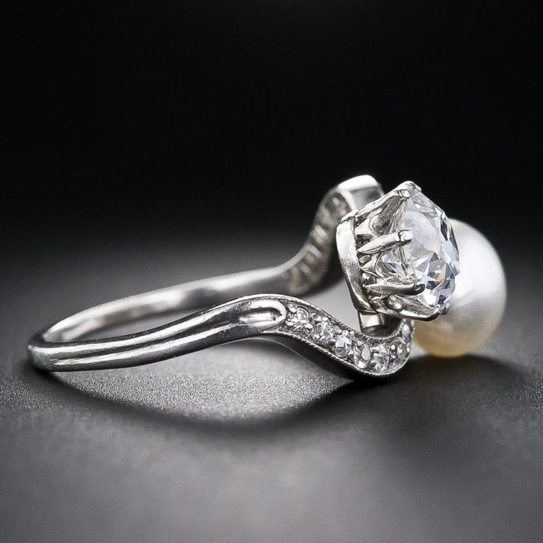 1.08 Carat Diamond and Natural Pearl Edwardian Twin Ring In Excellent Condition For Sale In San Francisco, CA