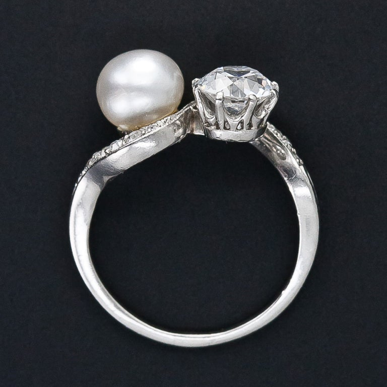 1.08 Carat Diamond and Natural Pearl Edwardian Twin Ring For Sale 1