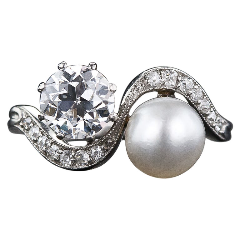 1.08 Carat Diamond and Natural Pearl Edwardian Twin Ring For Sale