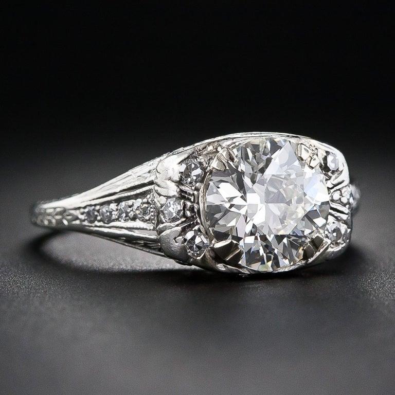 1.72 Carat Art Deco Platinum Diamond Ring 2