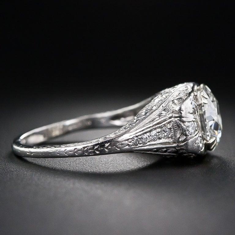 1.72 Carat Art Deco Platinum Diamond Ring 3