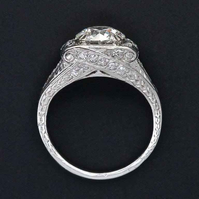 1.72 Carat Art Deco Platinum Diamond Ring 4