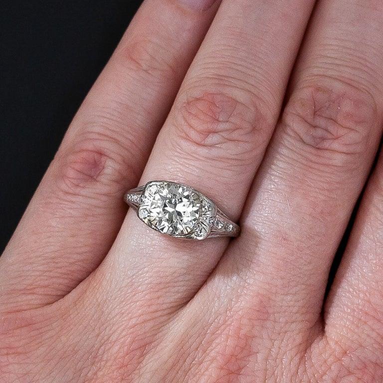 1.72 Carat Art Deco Platinum Diamond Ring 5
