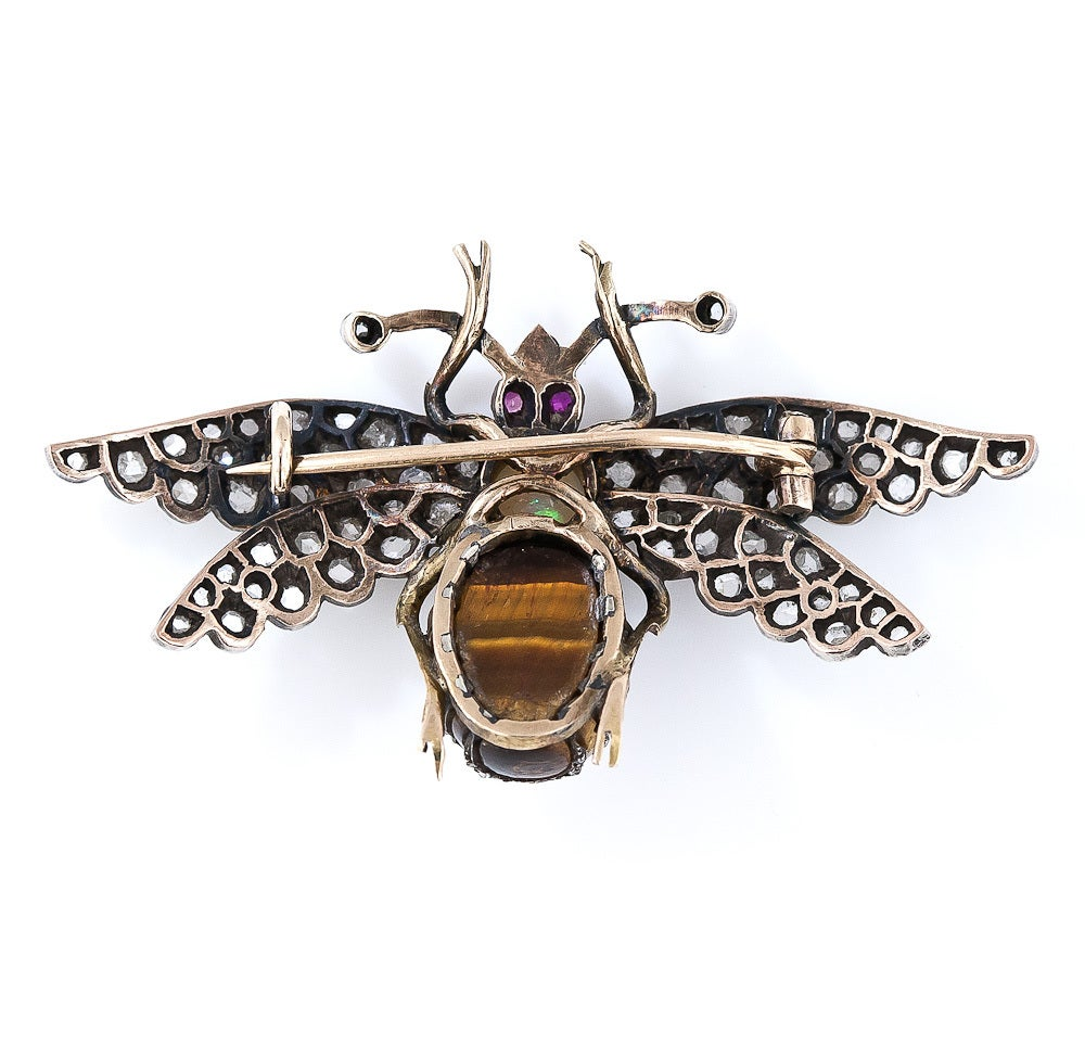 Victorian Diamond, Tiger's Eye, Opal and Ruby Bee Pin 2