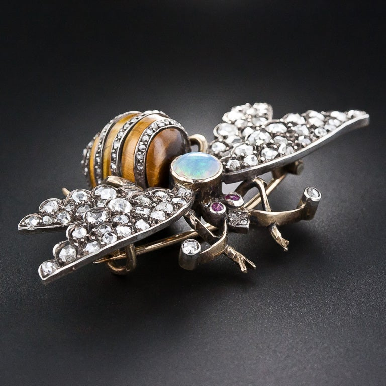 Victorian Diamond, Tiger's Eye, Opal and Ruby Bee Pin 3