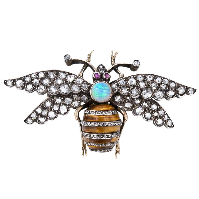 Victorian Diamond, Tiger's Eye, Opal and Ruby Bee Pin 1