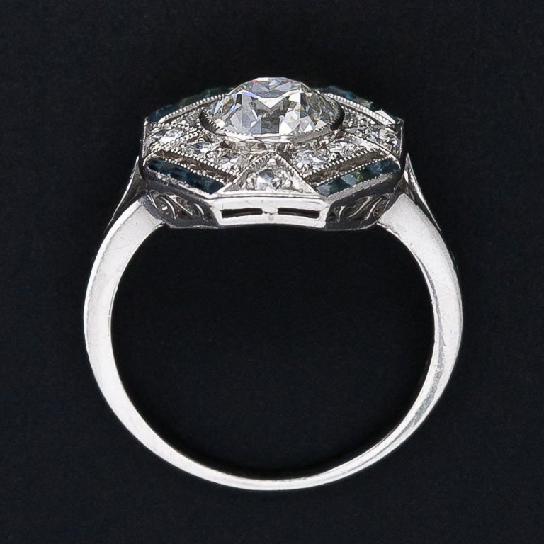 1.28 Carat Diamond and Calibre Sapphire Art Deco Ring For Sale 1