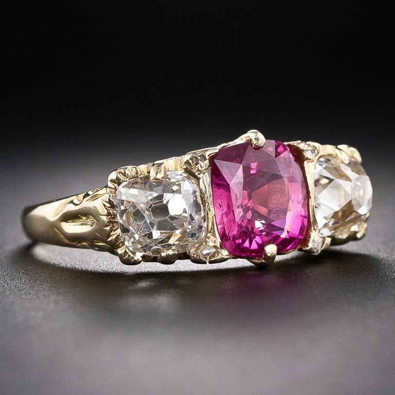 English Pink Sapphire And Diamond Three Stone Ring For