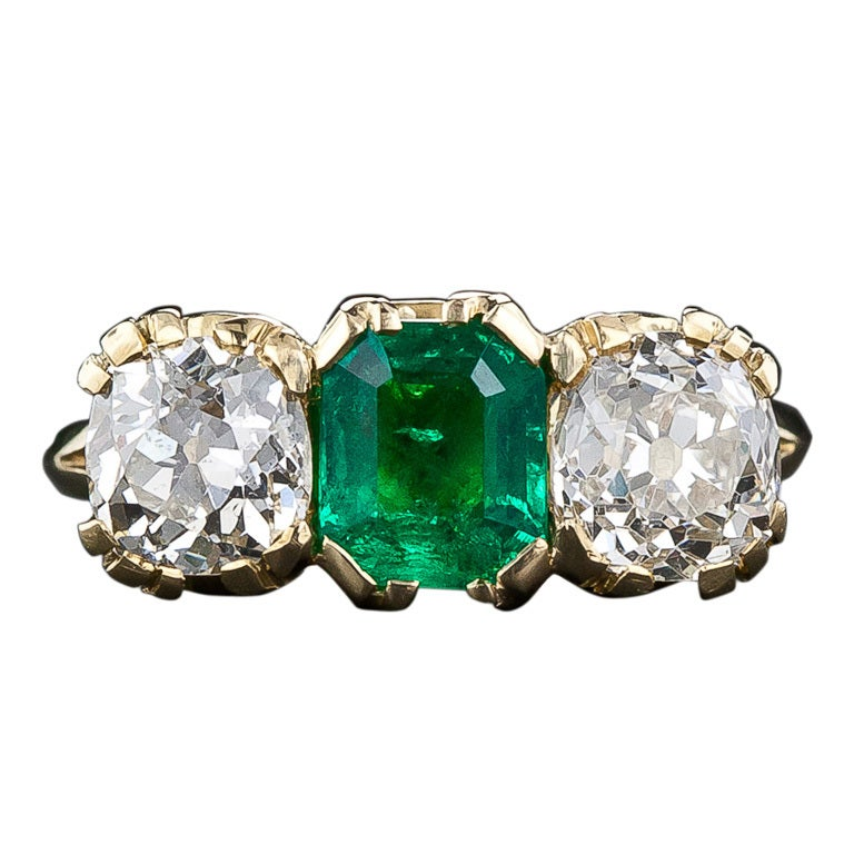 antique style emerald and ring at 1stdibs