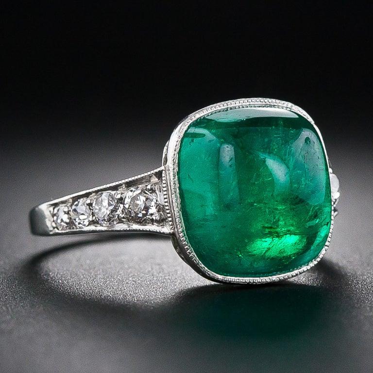 5.00 Carat Cabochon Emerald and Platinum Diamond Art Deco Ring 2