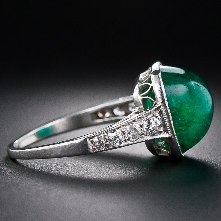 Women's 5.00 Carat Cabochon Emerald and Platinum Diamond Art Deco Ring For Sale