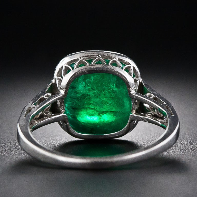 5.00 Carat Cabochon Emerald and Platinum Diamond Art Deco Ring For Sale 1