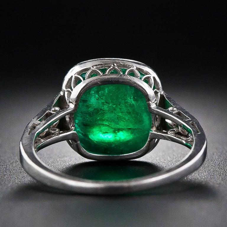 5.00 Carat Cabochon Emerald and Platinum Diamond Art Deco Ring 4