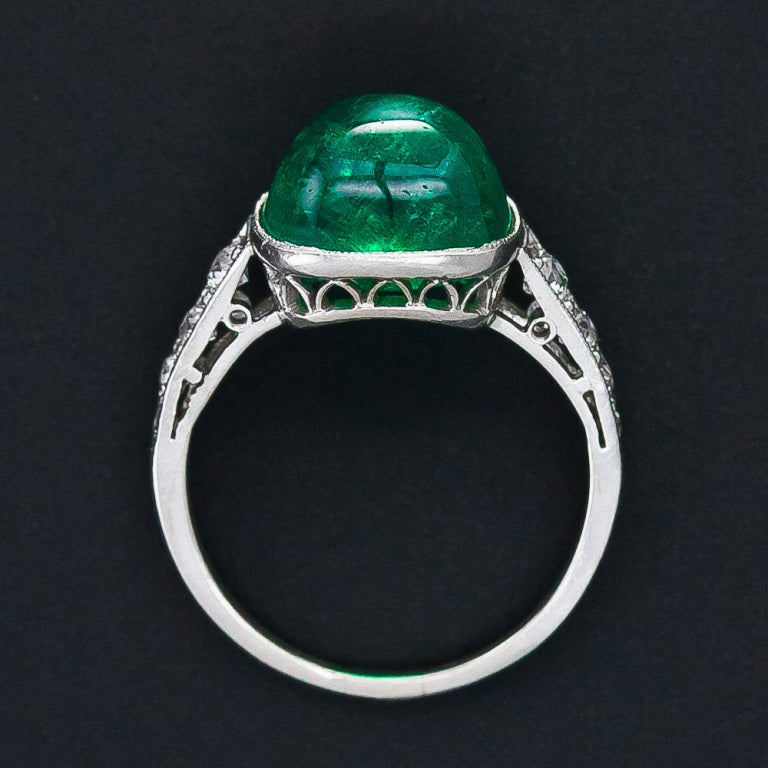 5.00 Carat Cabochon Emerald and Platinum Diamond Art Deco Ring For Sale 2