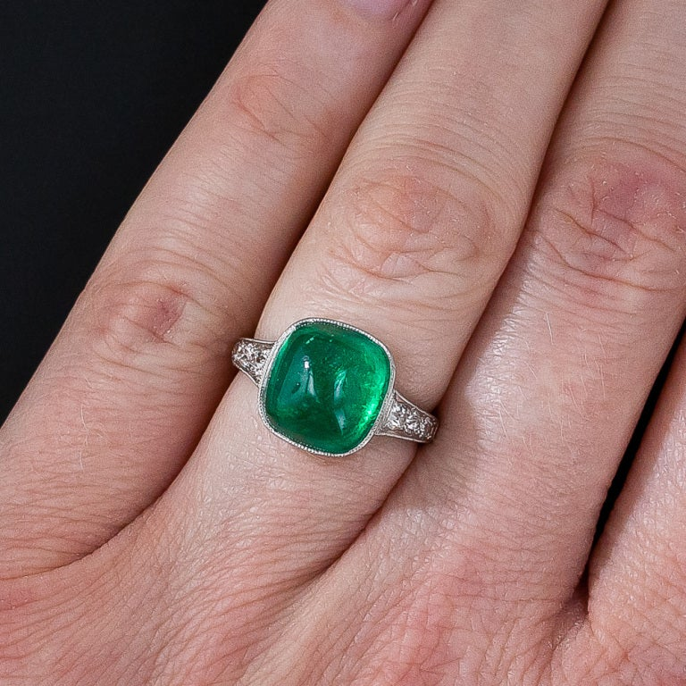 5.00 Carat Cabochon Emerald and Platinum Diamond Art Deco Ring For Sale 3