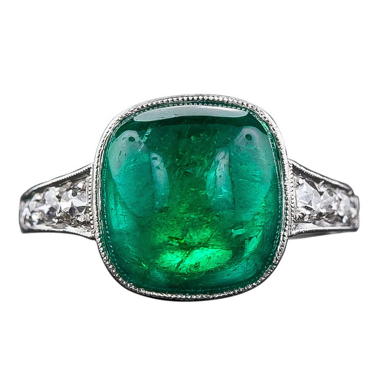 5.00 Carat Cabochon Emerald and Platinum Diamond Art Deco Ring For Sale