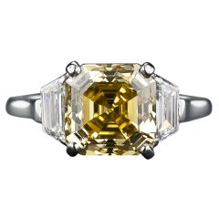 3.65 Carat Asscher-Cut Fancy Deep Orangy Yellow Diamond Ring - GIA