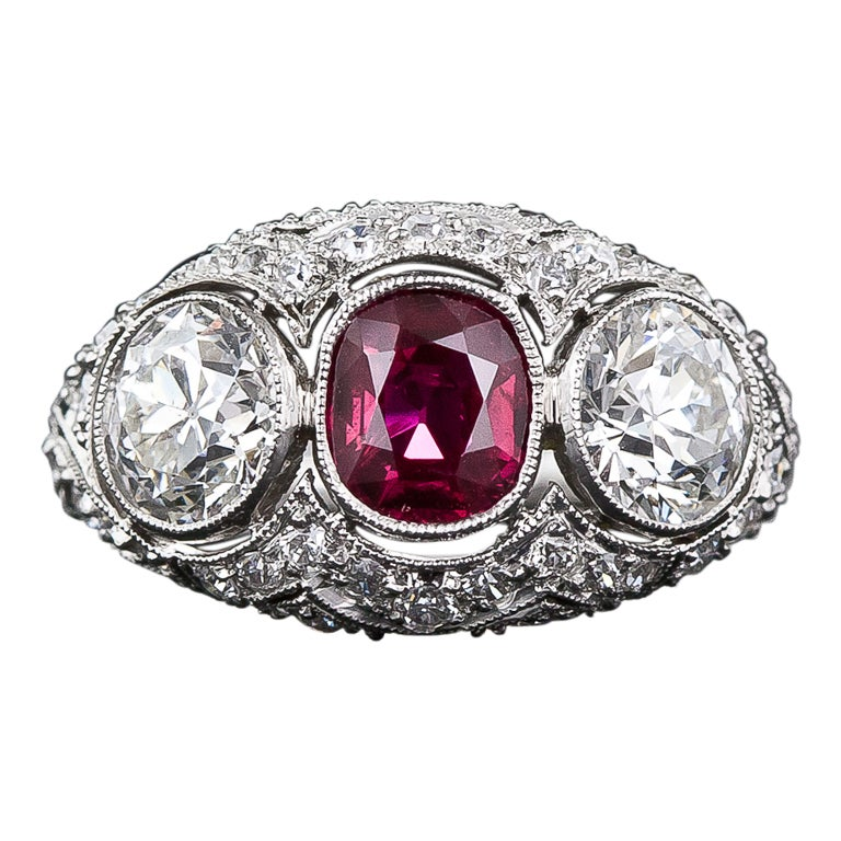 edwardian style platinum ruby and ring for sale at