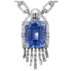 Lacloche Frères 33.06 Carat Sapphire and Diamond Necklace