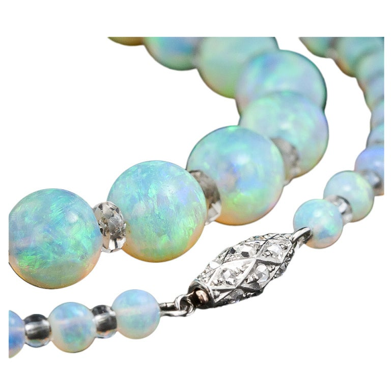 Vintage Opal Bead Necklace At 1stdibs